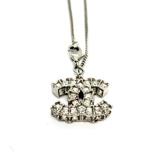 CHANEL Silver Chunky CC Charm Sparkle Bracelet
